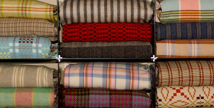 picture of Welsh woollen blankets from the National Wool Museum, Dre-fach Felindre
