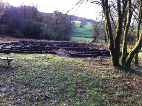photo of labyrinth at Llanfihangel Rhos-y-corn church. Copyright Anne Jones