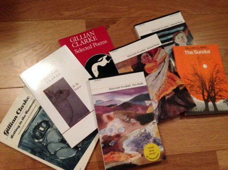 photo of a collection of poetry books by National Poet of Wales Gillian Clarke