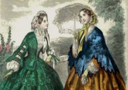 Victorian costume - coloured etching