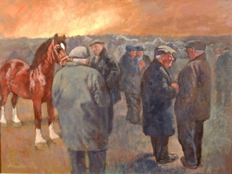 Painting by Aneurin Jones: Ffair Geffylau (Horse Fair)