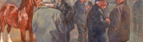 Painting by Aneurin Jones: Ffair Geffylau (Horse Fair)