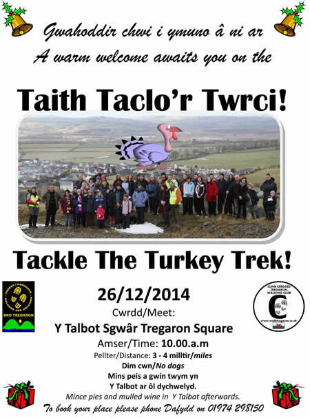 Poster advertising a walk on 26/12/14 in Tregaron