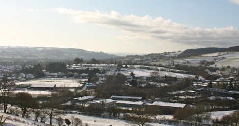 View over Lampeter, light covering of snow.