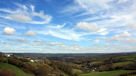 Photography of green valley, blue sky, white clouds. Cwmhiraeth.